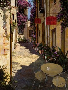 Cafe Piccolo Fine Art Print - Guido Borelli  it took me a while to realize that this is not a photograph.