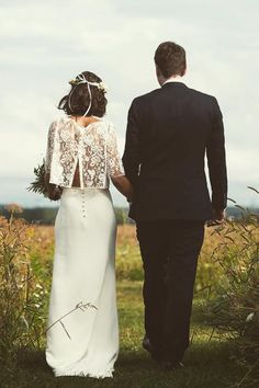 FRENCH LACE, UPDATED  The French wedding is all about relaxed romance. Update the standard lace gown with a modern design (we heart this two-piece ensemble by Laure de Sagazan) to look less fussy but just as classic.
