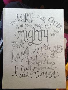 """Custom 8"""" x 10"""" hand lettered #pencilligraphy order, unframed. Zephaniah 3:17 ESV"""