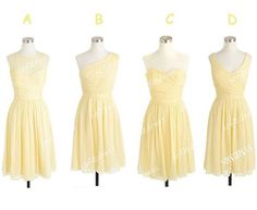 yellow bridesmaid dress, custom bridesmaid dresses, chiffon prom dress bridesmaid, mismatch bridesmaid dress, cheap bridesmaid dress, BE0616 on Etsy, $118.77 CAD