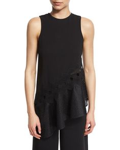 JONATHAN SIMKHAI Sleeveless Mesh-Trim Crepe Top, Black. #jonathansimkhai #cloth #