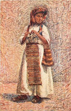 Illustration of woman in costume, unidentified town, Bosnia and Hercegovina (former Yugoslavia), circa 1930-1937 :: Blanche Payne Regional Costume Photograph and Drawing Collection
