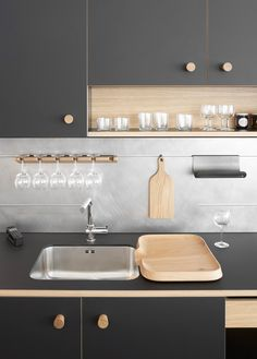 modern kitchen sink design ideas which you definitely like page 6 Corner Sink Kitchen, Modern Kitchen Sinks, Kitchen Sink Design, New Kitchen, Cool Kitchens, Kitchen Designs, Kitchen Cabinets, Awesome Kitchen, Kitchen Utensils