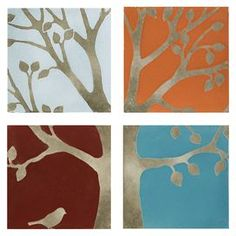 Four terracotta wall panels with a tree design.   Product: 4 Piece wall dcor setConstruction Material: TerracottaColor: Blue, red, orange and silverFeatures:  Organic tree motifAdds a splash of color to your foyer, living room, or bedroom Can be hung in a variety of patterns Dimensions: 9.25 H x 9.25 W each