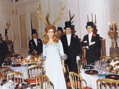 Marie-Hélène de Rothschild wearing her antlers at the start of her Surrealist Ball. Scala Regia Inspirational Archives: Last Days of Rome