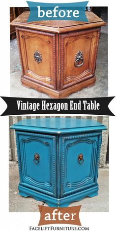 Peacock Blue Hexagon End Table ~ Before & After. Find more inspiration on our Pinterest boards, or on the Facelift Furniture DIY blog.