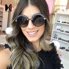 SHAUNA Oversize Pearl Effect Women Round Sunglasses Popular Ladies Gradient Lens Shades UV400