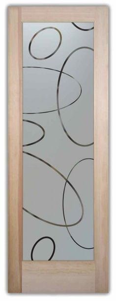 Ovals Overlap Pantry Door - Etched glass with custom, classic design! Ovals Overlap Pantry Door - Etched glass with custom, classic design! Customize your design, wood type, border & fon Frosted Glass Pantry Door, Etched Glass Door, Glass Front Door, Sliding Glass Door, Glass Etching, Window Glass, Wooden Door Design, Wooden Doors, Frosted Glass Design