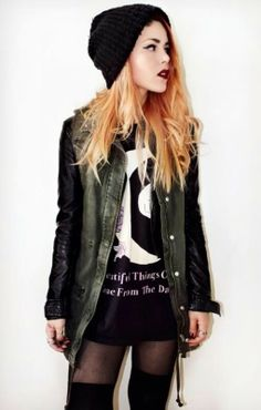 Love! military jacket + t-shirt dress + tights + thigh highs + beanie