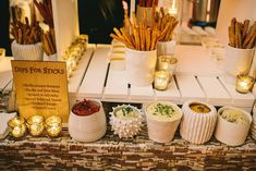 """A next-level breadstick bar. Hand-rolled breadsticks were served with flavored dips like spiced butternut squash, curried cream, and ricotta and fava bean, along with carrot and ginger and truffled wild mushroom soups. """"You'd never guess it's a less expensive option because of the abundance of food on the table,"""" the chef says."""