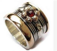 Spinner ring , floral garnet ring , silver gold jewelry , Israeli statement rings , meditation ring