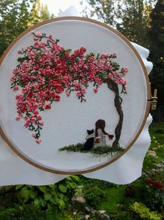 Sakura Cherry blossoms Embroidery Scenery cherry blossom Embroidered picture for girl painting Friendship Girl and black cat framed Painting - Picture Girl with black cat Cherry blossoms Hand embroidery wall art painting ribbon embroidery - Hand Embroidery Videos, Embroidery Flowers Pattern, Embroidery Hoop Art, Hand Embroidery Designs, Ribbon Embroidery, Embroidery Stitches, Cactus Embroidery, Modern Embroidery, Diy Broderie