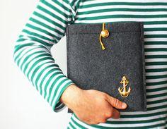 navy ipad case golden anchor