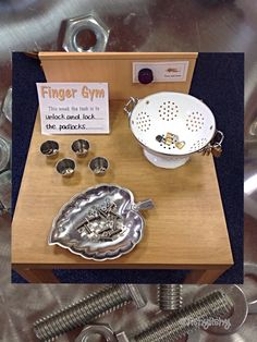 Finger Gym with nuts, bolts and padlocks - challenge on talking button Preschool Fine Motor Skills, Fine Motor Skills Development, Motor Skills Activities, Gross Motor Skills, Preschool Activities, Physical Development, Preschool Learning, Eyfs Classroom, Classroom Ideas