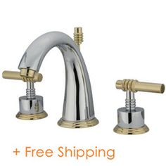Kingston Brass Milano Double Handle Widespread Bathroom Sink Faucet with Brass Pop-up Finish: Polished Chrome/Polished Brass Brass Bathroom Faucets, Widespread Bathroom Faucet, Lavatory Faucet, Brass Faucet, Faucet Handles, Kingston Brass, Elements Of Design, Modern Design, Polished Brass