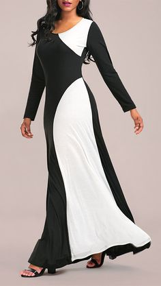 Maxi dresses:Color Block Maxi Formal Dress with Long Sleeve
