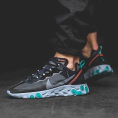 "944347fb9 Sneaker News on Instagram  ""The Nike React Element 87 in Neptune Green and  Bright Mango releases this Thursday"