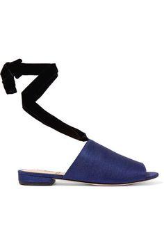 Sam Edelman - Theodora Velvet-trimmed Slub Satin Sandals - Indigo - US10.5