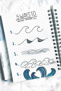 Best step by step ocean doodle tutorials and ideas for your bullet journal! Best step by step ocean doodle tutorials and ideas for your bullet journal! Bullet Journal Banner, Bullet Journal Notebook, Bullet Journal Ideas Pages, Bullet Journal Inspiration, Art Journal Pages, Bullet Journals, Bullet Journal Markers, Drawing Journal, Doodle Drawings