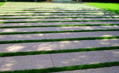 """exposed aggregate pavers 12"""" x 24"""" and grass"""