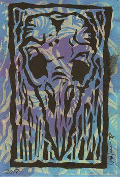 Bird Skull Lino Print  Blue by PatrickJCreates on Etsy