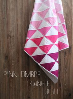 Geometric Triangle baby quilt blanket Pink Ombre