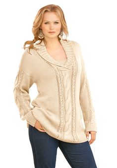 Plus Size Clothing - Fashion for Plus Size women at Roaman's $90, love this sweater neckline