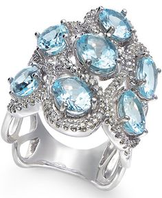 Aquamarine (5-9/10 ct. t.w.) and Diamond (5/8 ct. t.w.) Ring in 14k White Gold
