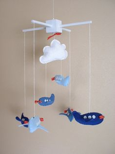 Baby Crib Mobile, Baby Mobile, Airplanes and Cloud Nursery Mobile. $65.00, via Etsy.