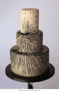 Black & Silver Sequin Cake   by Rachael Teufel for TheCakeBlog.com