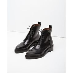 Acne Studios Linden Boot (£402) ❤ liked on Polyvore featuring shoes, boots, ankle booties, black pointed toe booties, leather boots, black military boots, leather combat boots and leather booties