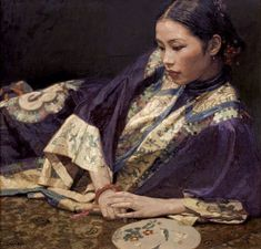chen yifei | Chen Yifei , Pondering oil on canvas
