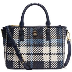 Tory Burch Robinson Woven Plaid Small Multi Tote (2.405 RON) ❤ liked on Polyvore featuring bags, handbags, tote bags, tory navy plaid, tory burch purse, leather purse, woven tote, leather handbags and genuine leather tote