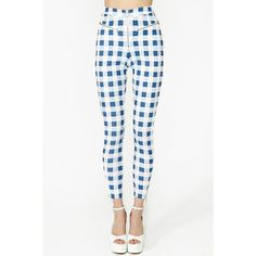 Ozzie Gingham Zip Pant ($58) ❤ liked on Polyvore