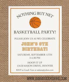 Sports Party  Basketball Invitation www.BabadooDesigns.com