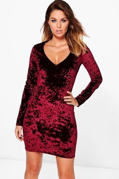 a6fe79b46d65 Boohoo Womens Crushed Velvet Plunge Bodycon Dress #fashion #clothing #shoes  #accessories #