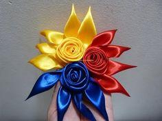 tutorial moños en tela faciles en flores para accesorios del cabello paso a paso - YouTube
