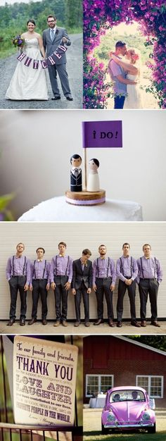 Love the cake topper, and love the guys in purple shirts! #purple wedding