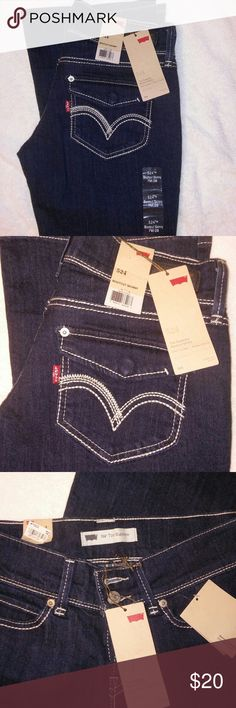 Levis 524 ~ 7m/28 Brand new Levi's too super-low bootcut skinny dark denim wash Levi's Jeans Boot Cut