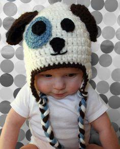 Brown Blue and White Puppy Dog Child Newborn Baby by makinitmama, $18.00