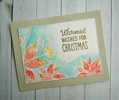 Embossed and watercolored Poinsettia #amuse studio