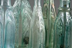 Close-up of a grouping of 1865 gothic bottles; click to enlarge.