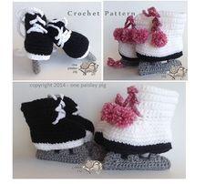 Crochet Pattern - Ice Skate - Hockey / Figure Skate Baby Booties - cute fun pattern, diy, ideas, inspiration