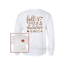 Monogram Tee - Monogrammed T-Shirt - Fall Tee - Long Sleeve Monogrammed T Shirt - Long Sleeved Tee - Monogram Fall Autumn Shirt Monogram T Shirts, Monogram Initials, Monogram Clothing, Fall Shirts, Heat Transfer Vinyl, Silhouette Studio, Must Haves, Heat Press, Long Sleeve Tees