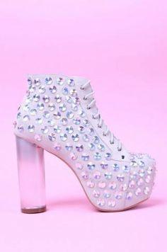 #Lita Jewel #JeffreyCampbell #ShopAKIRA #AKIRA #bootie #Lita #JeffreyCampbellLita #rhinestone #clearheel #chunkyheel #laceupbootie