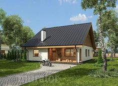 Miarodajny - wariant II Small House Design, Cottage Design, Barn Living, Little Houses, Home Fashion, Exterior Design, House Plans, New Homes, Home And Garden