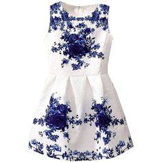 Zeagoo Women's Sleeveless Floral Print Flare Mini Dress found on Polyvore