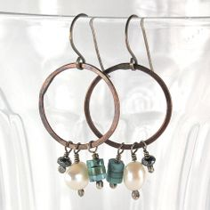 $36 - Baja Earrings - Copper hoops with turquoise, pearls & hematite dangles - Maggie Connolly Designs