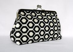 Clutch Purse Black and White Geometric Design by TheHeartLabel Bridesmaid Clutches, Bridesmaid Gifts, Bridesmaids, Wedding Clutch, Bridal Clutch, Clutch Purse, Coin Purse, Red Satin, Purses And Bags