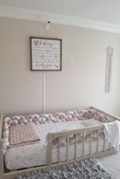 Toddler Room Decor, Toddler Rooms, Baby Room Decor, Nursery Room, Girl Room, Kids Bedroom, Toddler Twin Bed, Toddler Floor Bed, Toddler Bed Rails
